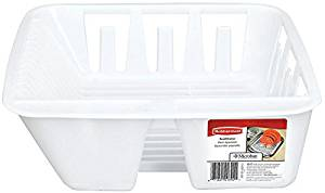 Rubbermaid Antimicrobial in-Sink Dish Drainer, White, Small (FG6049ARWHT)